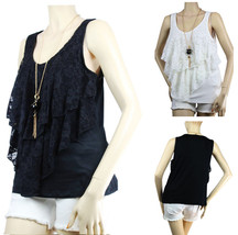 Floral Lace Ruffle Layering TANK TOP w/ Necklace Stretchy Sexy Casual  Top Plus - $22.99