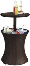 Keter Rattan Cool Bar Patio Table Cooler Outdoor Drink Storage Bar Deck ... - €95,29 EUR