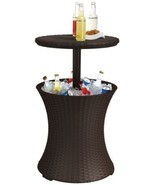 Keter Rattan Cool Bar Patio Table Cooler Outdoor Drink Storage Bar Deck ... - £82.51 GBP