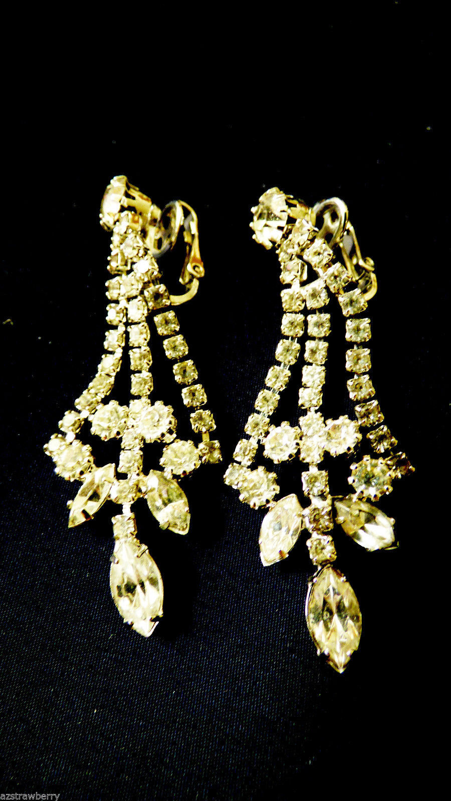 Primary image for VTG Silver Tone Clear Rhinestones Dangling Chandelier clip on Earrings