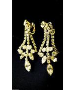 VTG Silver Tone Clear Rhinestones Dangling Chandelier clip on Earrings - $38.61