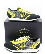 NIB Prada Mens Retro Black Yellow Fabric Trainers Sneakers Shoes 9.5US $... - $345.00