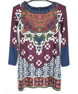 Halo Womens Size Small Multi Color Print Studded Long Sleeve Lined Stret... - $25.17