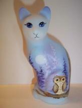 Fenton Glass Moonlight Hoot Owl Stylized Cat Figurine Ltd Ed GSE M. Kibb... - $232.32