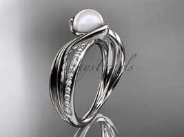 Platinum diamond pearl vine and leaf engagement ring AP78 - $1,785.00