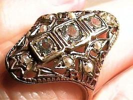 Silver 925 RING 6.5 AQUA AQUAMARINE PEARL filigree CLASSY SOLITAIRE smal... - £58.10 GBP
