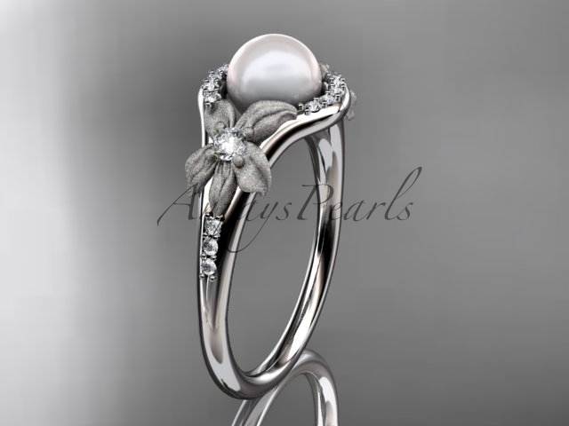 Ap91 white gold  platinum  pearl  diamond wedding band  diamond engagement ring  1
