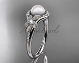 Ap91 white gold  platinum  pearl  diamond wedding band  diamond engagement ring  1 thumb155 crop