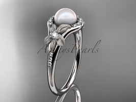 Platinum diamond pearl vine and leaf engagement ring AP91 - $1,895.00