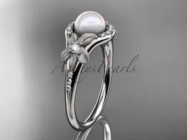 Platinum diamond pearl vine and leaf engagement ring AP91 - $1,895.00