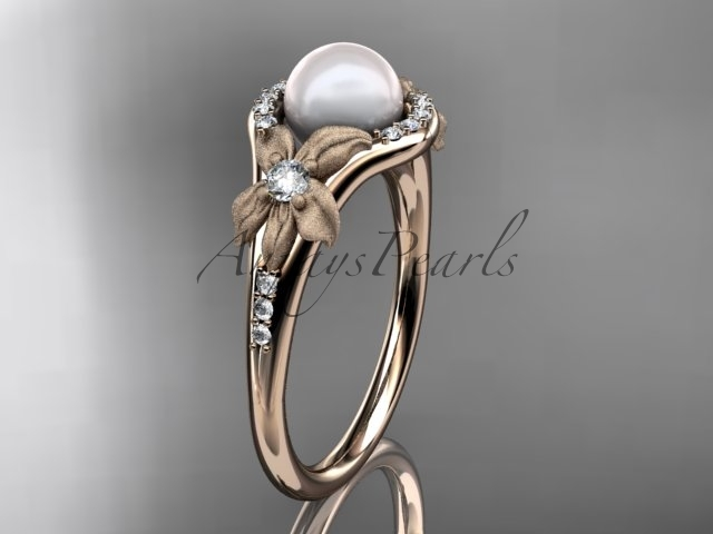 Ap91 rose gold  pearl  diamond wedding band  diamond engagement ring  1