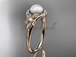 Unique pearl floral engagement ring, 14k rose gold diamond pearl vine an... - $1,385.00