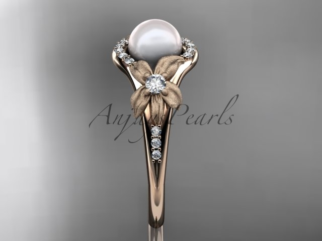 Unique pearl floral engagement ring, 14k rose gold diamond pearl vine and leaf e