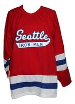 Custom Name # Seattle Ironmen Retro Hockey Jersey 1950 New Red Any Size image 1