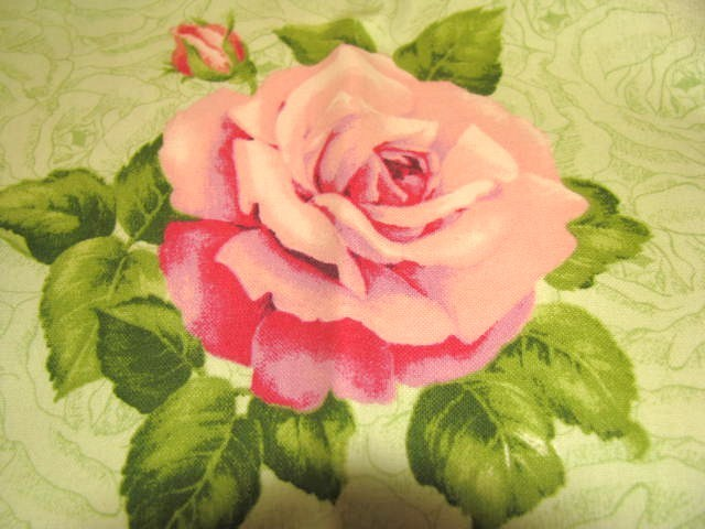 VIP Large Roses on Light Green Cotton Fabric