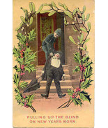 Pulling Up The Blind On New Years Eve Vintage 1910 Post Card - $7.00