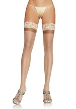 NEW LOT OF 6 LEG AVENUE WOMEN'S LACE THIGH HIGH HOSE STOCKINGS TIGHTS BEIGE 1022