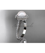 14k white gold diamond pearl vine and leaf engagement ring AP97 - $1,395.00