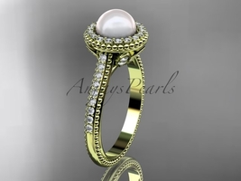 14k yellow gold diamond pearl vine and leaf engagement ring AP101 - $1,395.00