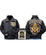 Masonic Leather Jacket Freemason Masonic Mason ... - $270.74 - $272.75