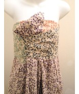 See by Chloe Sz 4 Strapless Dress Multi-Colored Floral Pleated Sundress ... - $66.61