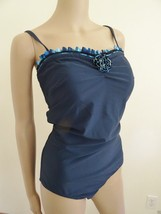 Nwt Christina Swimwear One Piece 1 PC Ruffled Swimsuit Sz 14 Blue Floral... - $44.50