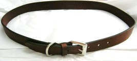 """VTG Eddie Bauer Italian brown leather belt L 35 x 1"""" Silver brass buckle... - $24.74"""