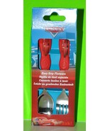 DISNEY CARS SPOON AND FORK SET FOR MEALTIME KIDS EASY GRIP FLATWARE MCQU... - $7.99