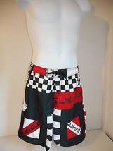 "Surf's Up! Quiksilver Men's Black Red White geo Board Shorts waist sz 33-34"" - $24.99"
