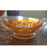 Marigold Carnival Glass Oval Bowl With Starburst Pattern And Sawtooth Edge - $34.64