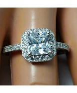 Sterling Silver ring size 4 CZ Princess Cut Engagement Wedding Halo New ... - $15.60