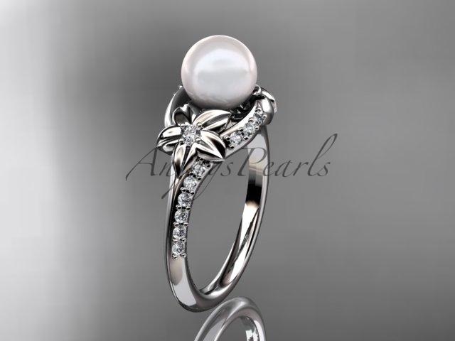 Ap125 white gold  platinum  pearl  diamond wedding band  diamond engagement ring  1