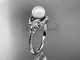 Nature inspired engagement ring, Platinum diamond floral wedding ring, e... - $1,760.00