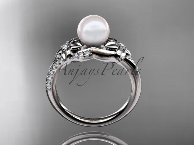 Nature inspired engagement ring, Platinum diamond floral wedding ring, engagemen