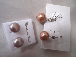 2 PAIRS PIERCED EARRINGS 1 DROP 1 STUD OPULANT PEARLS BRAND NEW - $4.94
