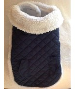 Dog Coat Med. Navy Blue Quilted & White Flannel w 2 Velcro closure used - $12.82