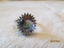 . LARGE STONED RAINBOW TOPAZ RING, SIZE 6  - £6.67 GBP