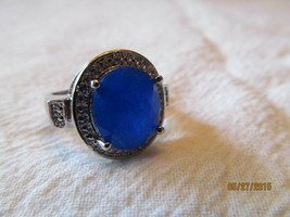 LARGE STONED SAPPHIRE RING, SIZE 6 1/4. NEW, 925. - £7.57 GBP