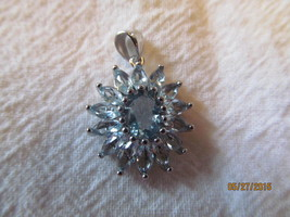 AQUAMARINE  PENDENT about 1 inch - £11.36 GBP