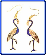 Elegant Blue Cloisonne Enamel Flamingo Earrings 1970s Vintage - $14.95