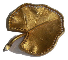Vintage BSK Lilly Pad Brooch. Unique Brooch With Open Edging. - $14.00