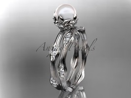 Platinum diamond floral wedding set, engagement set AP132S - $1,955.00