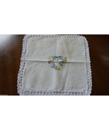"""White doily embroidery crochet  lace bow ribbon & heart small 13"""" x 13"""" - $14.85"""