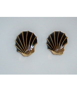 Vintage Black Enamel Seashell Earrings. Clip On Nautical Summer Beach Je... - $12.00