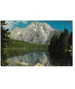 WY Mt. Moran and Leigh Lake Grand Teton National Park Vntg Postcard Muen... - $4.99