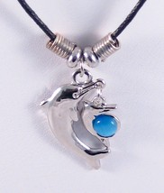 12 New Necklaces With Silvertone Dolphin Pendants & Blue Catseye Stone #... - $6.79