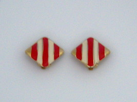 Enamel Clip On Earrings. Red And Cream On Gold Tone - $9.00