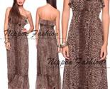 Forever21 leopard sheer ruffle top flounce tiered chiffon long maxi skirt dress  6  thumb155 crop