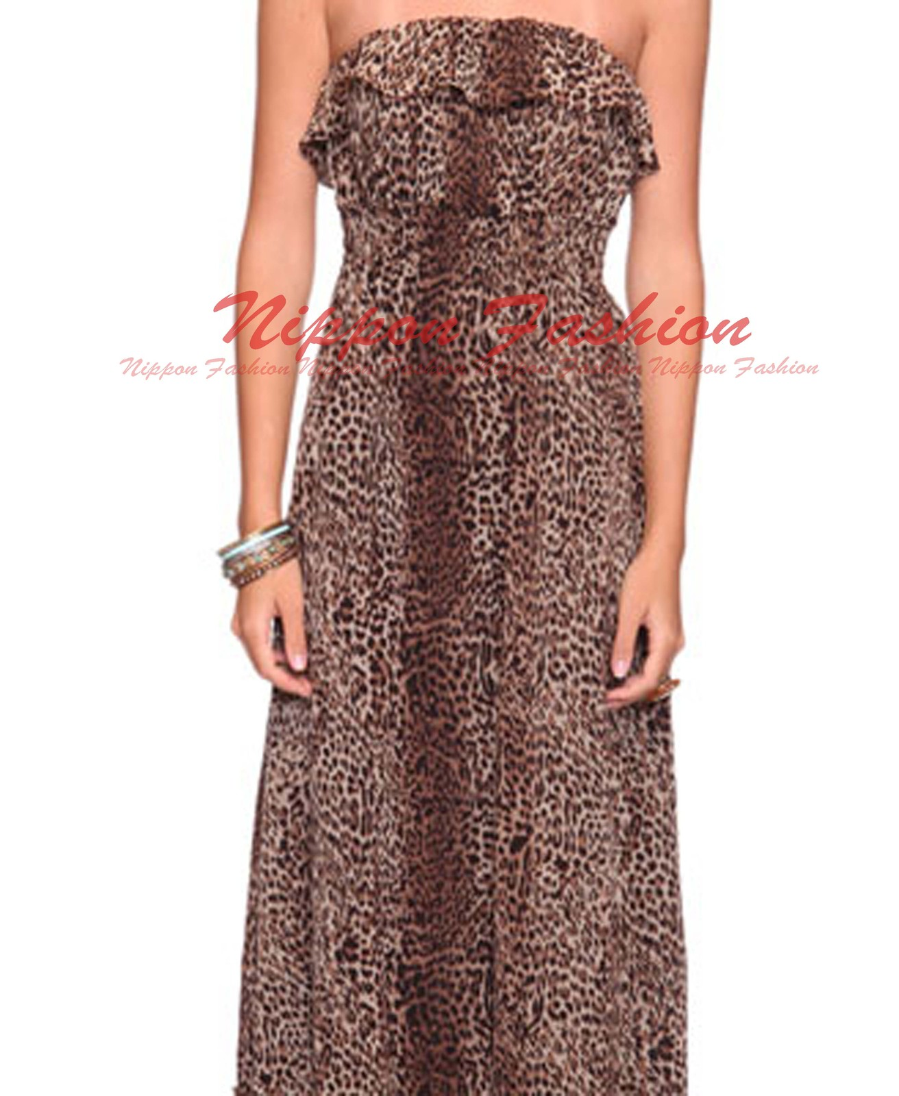 Forever21 Leopard Sheer Ruffle Top Flounce Tiered Chiffon Long Maxi Skirt Dress