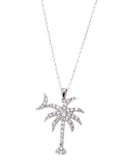 Sterling Silver Cubic Zirconia Palmetto Tree With Crescent